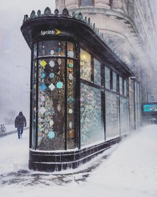 New York durante la tempesta di neve